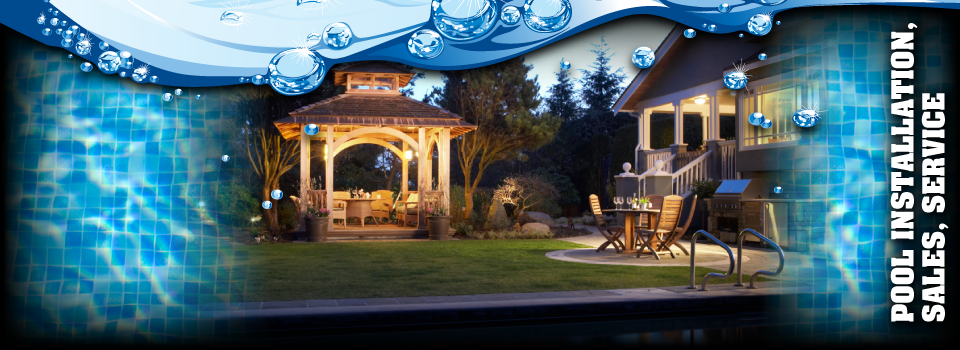 Pool Installation, Sales, Service - gazebo with pool and patio